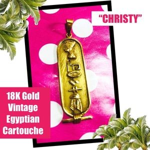 18K Yellow Gold Vintage Egyptian Cartouche Pendant